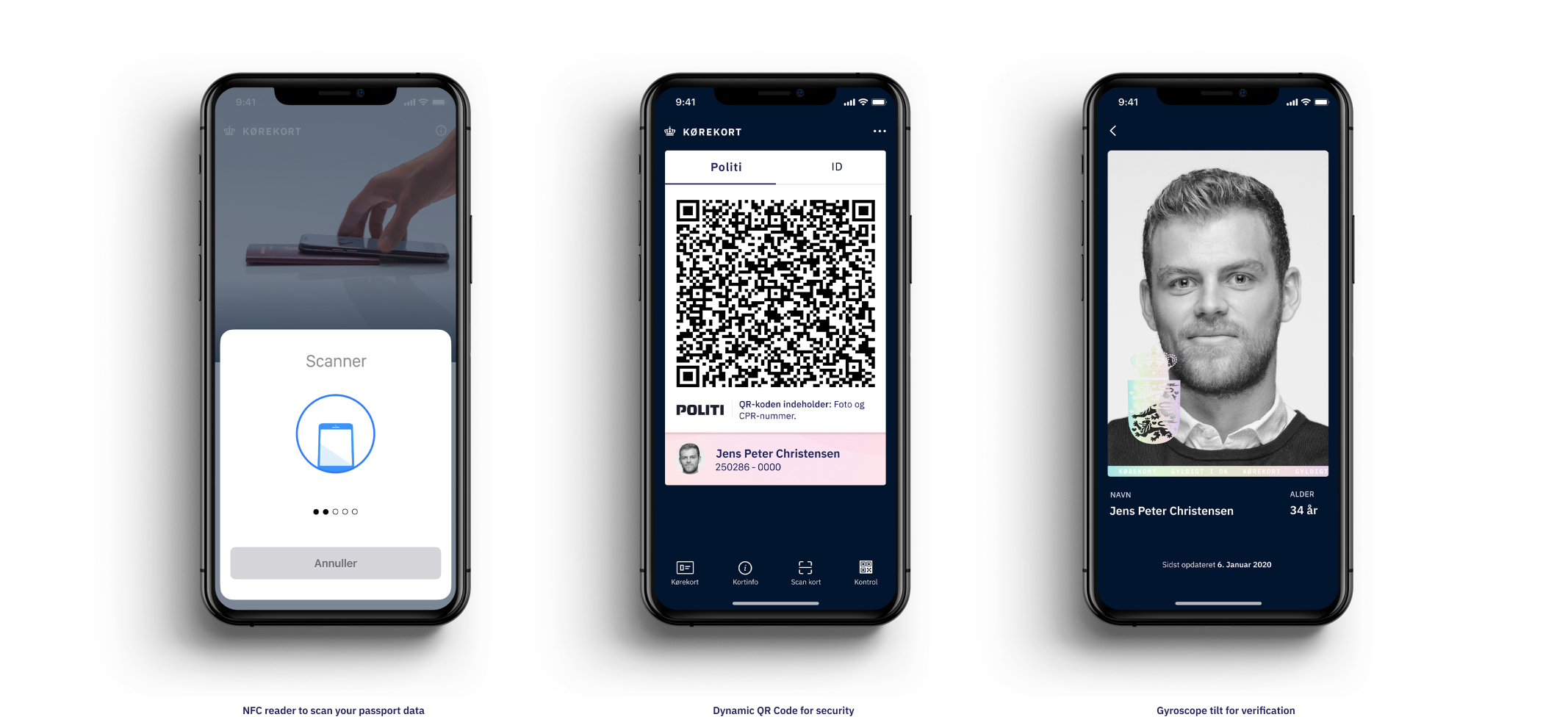 overview of app design NFC reader to scan your passport data. Dynamic QR code for security. Gyroscope tilt for verification